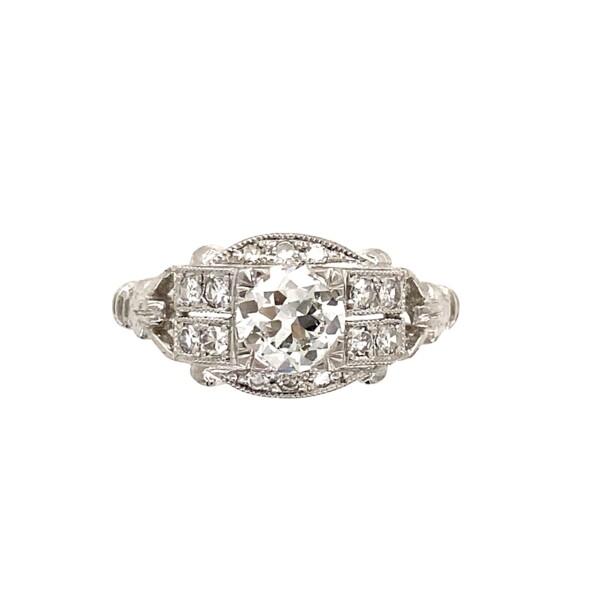 Closeup photo of Platinum Art Deco Style .84tcw Diamond, Filigree and Milgrain Ring 5.1g, s6.75