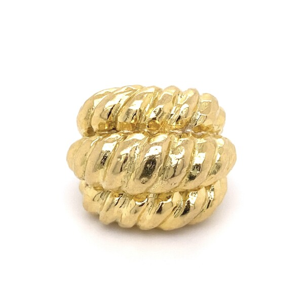Closeup photo of 18K YG 1970's Triple Row Rope Dome Ring 26.7g, s7