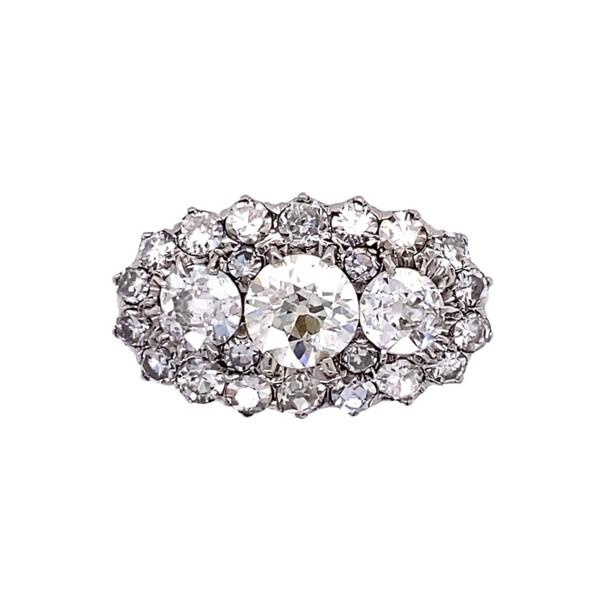 Closeup photo of Platinum Art Deco 3-Stone Cluster 1.73tcw Diamond Ring 4.9g, s6.5