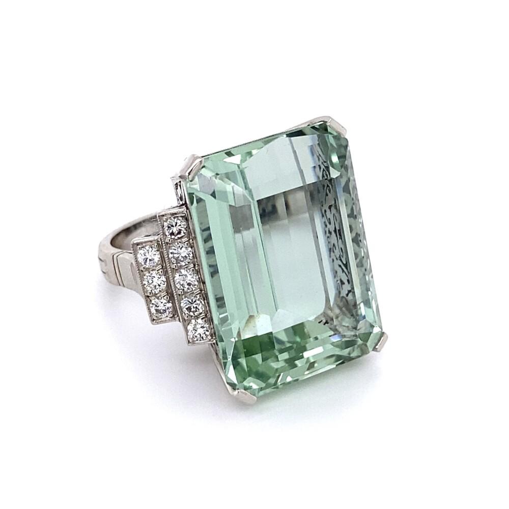 1950's Platinum 30.50ct Green Aquamarine & Diamond Ring 20.5g, s7