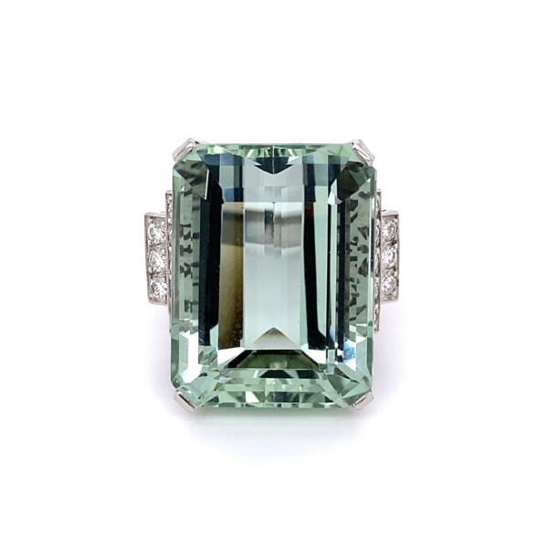 Closeup photo of 1950's Platinum 30.50ct Green Aquamarine & Diamond Ring 20.5g, s7