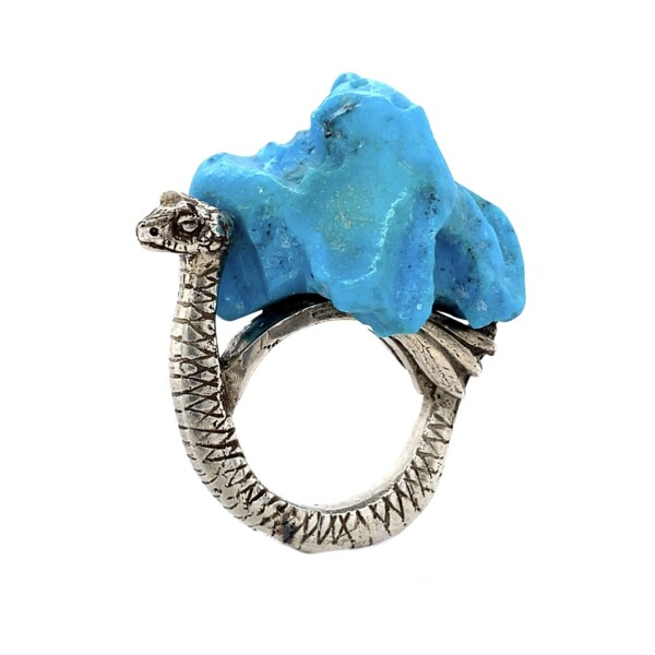 Closeup photo of 925 Sterling Dragon Turquoise Nugget Ring  24.0g, s5.5