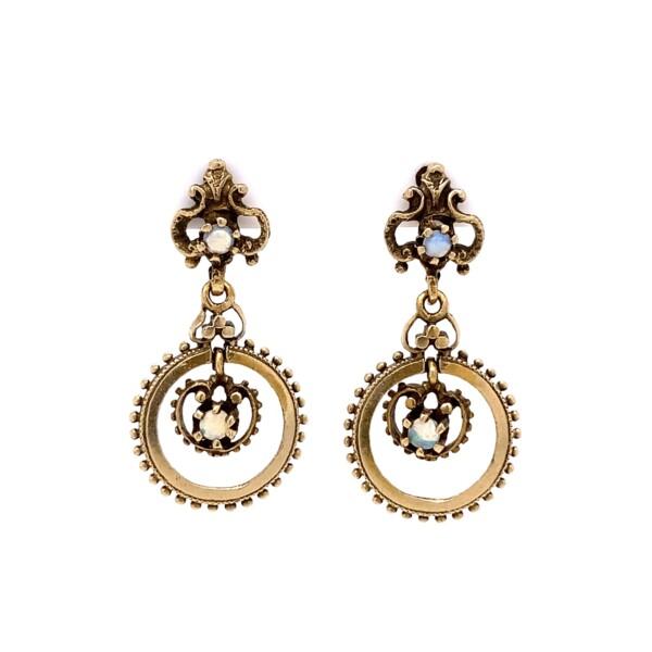 "Closeup photo of 14K YG Vintage Chandelier Opal Earrings 4.9g, 1"""