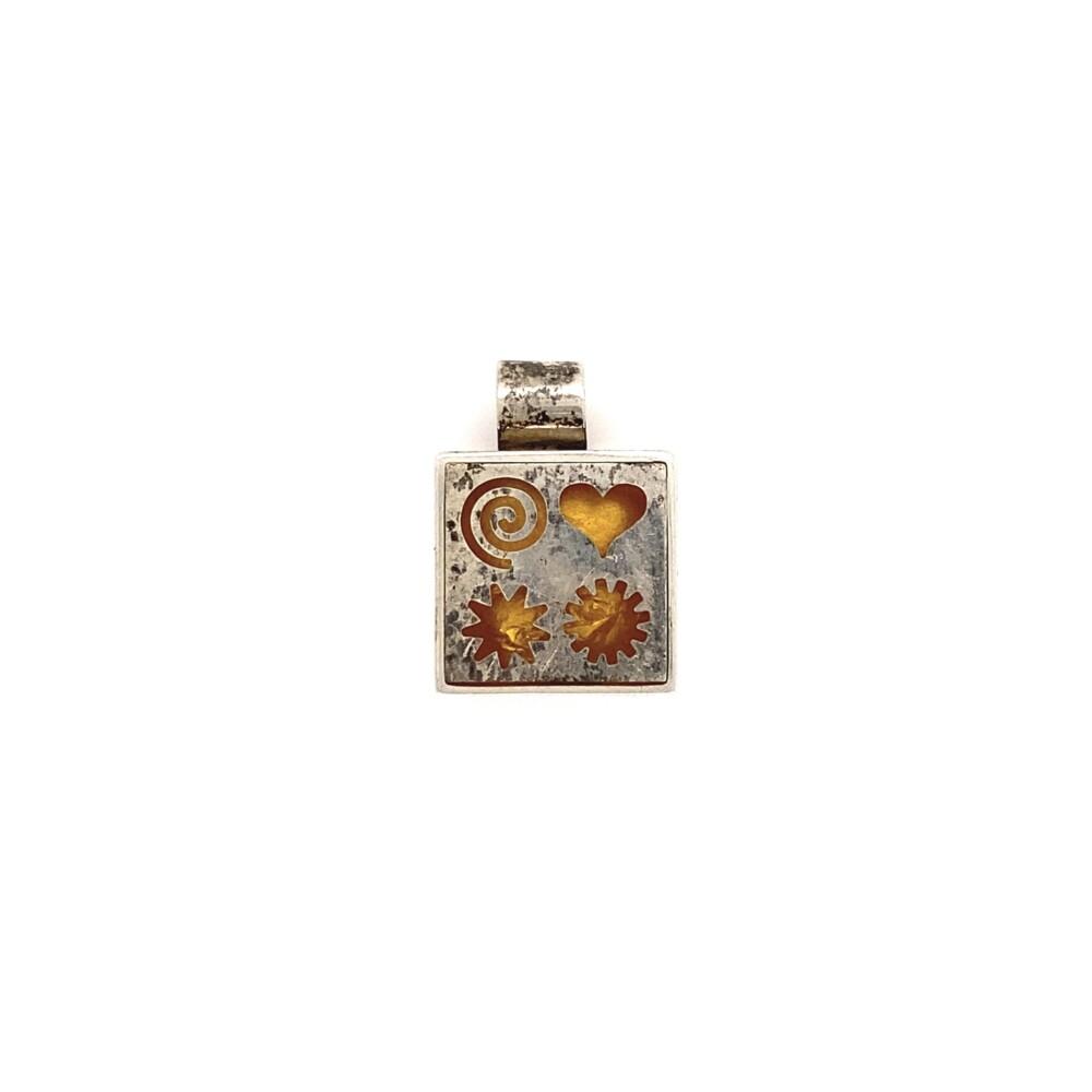 925 Sterling Gold Foil Square Geometric Pendant 3.0g