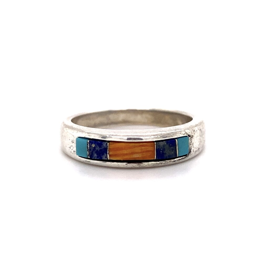 925 Sterling Inlay Turquoise, Lapis & Spiny Oyster Band 4.6g, s8