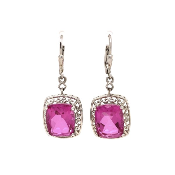 Closeup photo of 925 Sterling Pink Glass Drop Earrings 6.4g