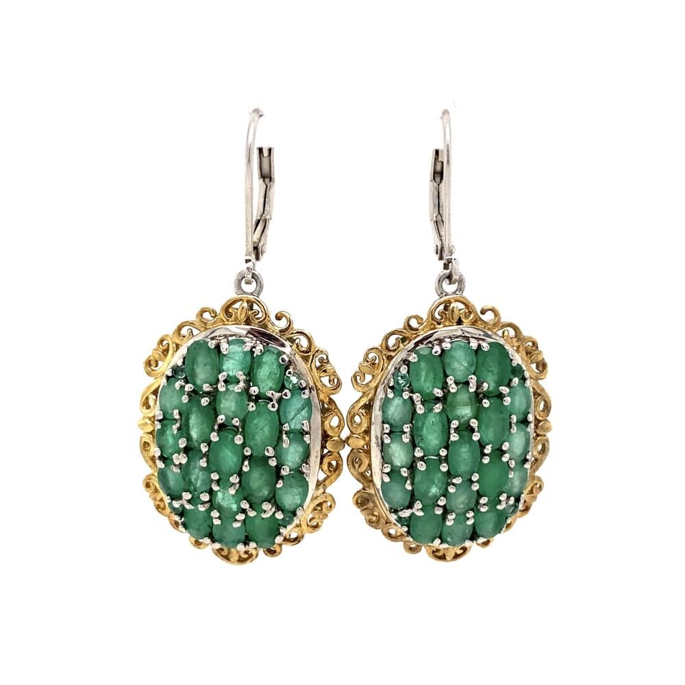 """925 Sterling 2tone 11.25tcw Emerald Cluster Drop Earrings 10.9g, 1.75"""""""