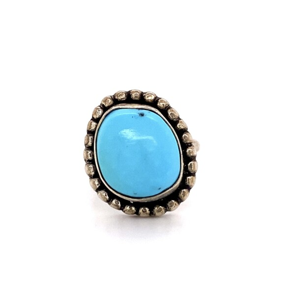 Closeup photo of 925 Sterling Native Turquoise Ring 4.6g, s3
