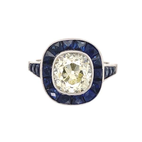 Closeup photo of Platinum Filigree 2.69 Rectangular Old Mine Diamond Ring with Sapphires, s7