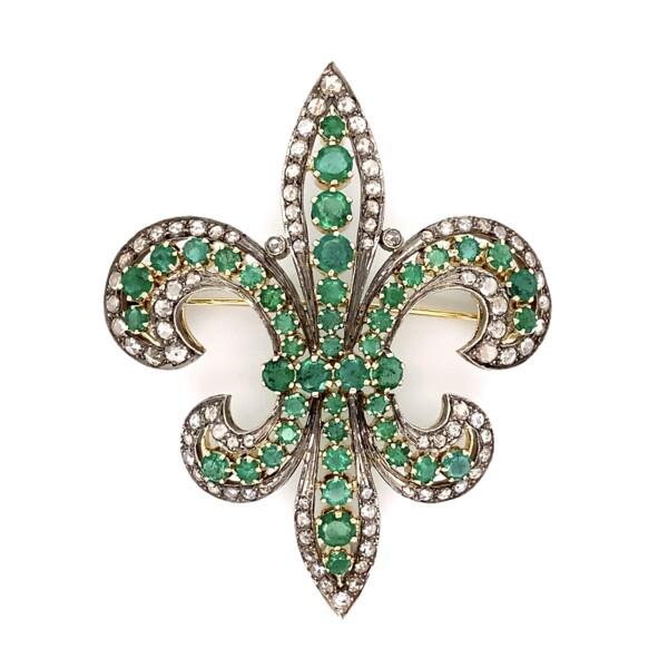 "Closeup photo of Silver on Gold Fleur De Lis Brooch 3.50tcw Diamonds & 5.10tcw Emeralds 22.0g, 2.75"""