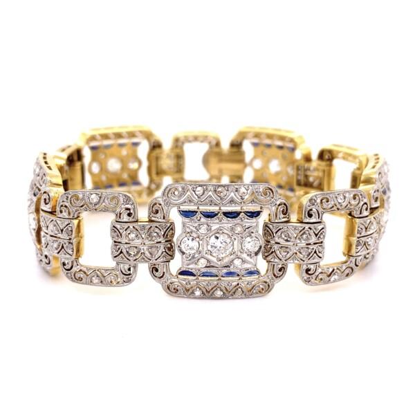 "Closeup photo of Platinum on Gold Edwardian 4.05tcw Diamond & Sapphire Bracelet 38.3g, 7.25"""