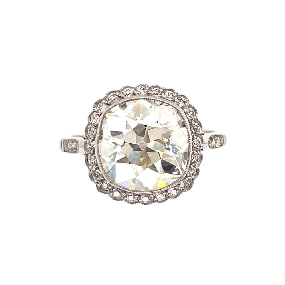 Platinum 3.54ct Antique Cushion Diamond Ring 4.3g, s6.25
