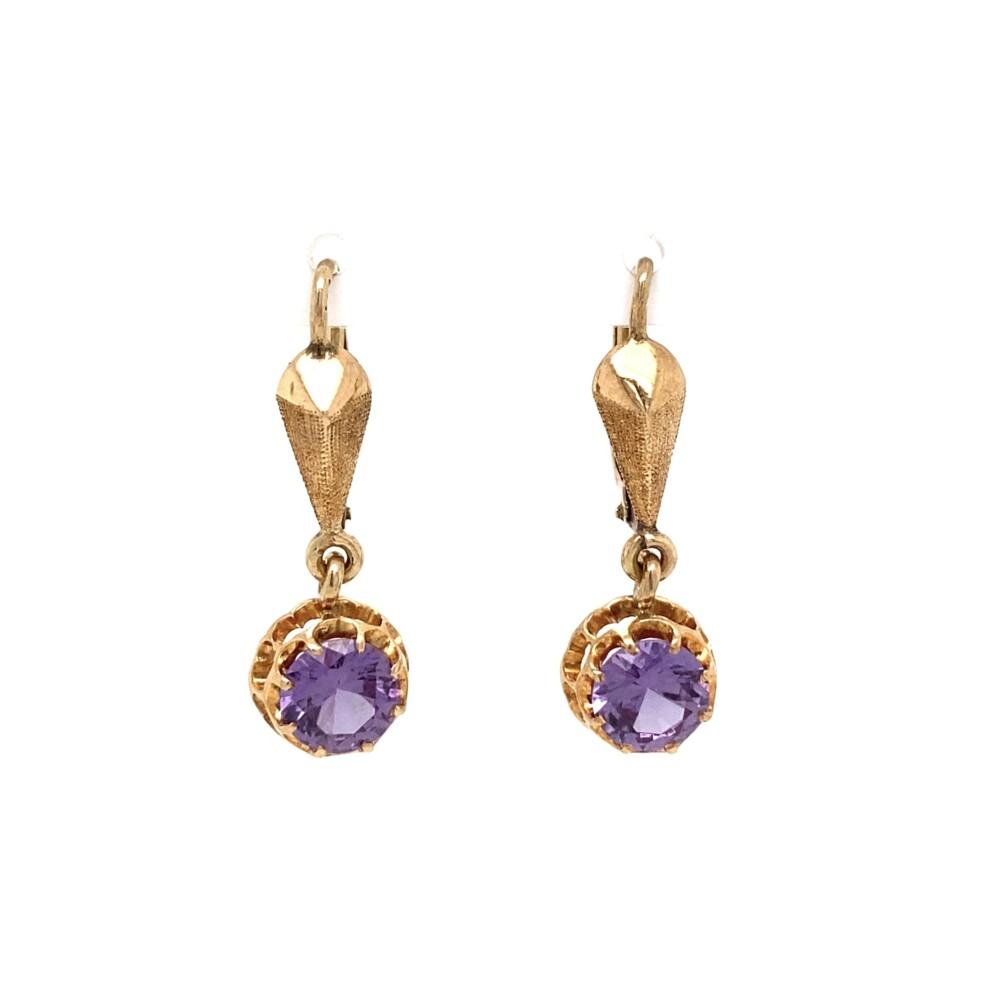 14K YG 2tcw Round Purple Stone Drop Earrings 3.0g