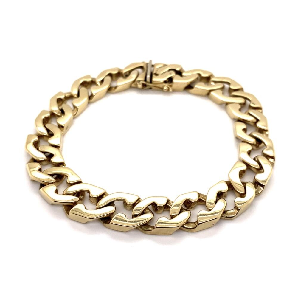 "14K YG Fancy 10.8mm Link Bracelet 58.8g, 8"""