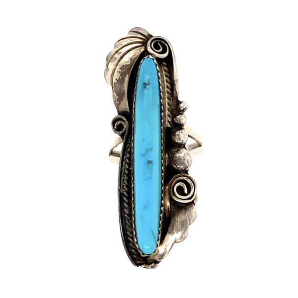 """Closeup photo of 925 Sterling Long Turquoise Navajo Ring 9.1g, s7.25 2"""""""