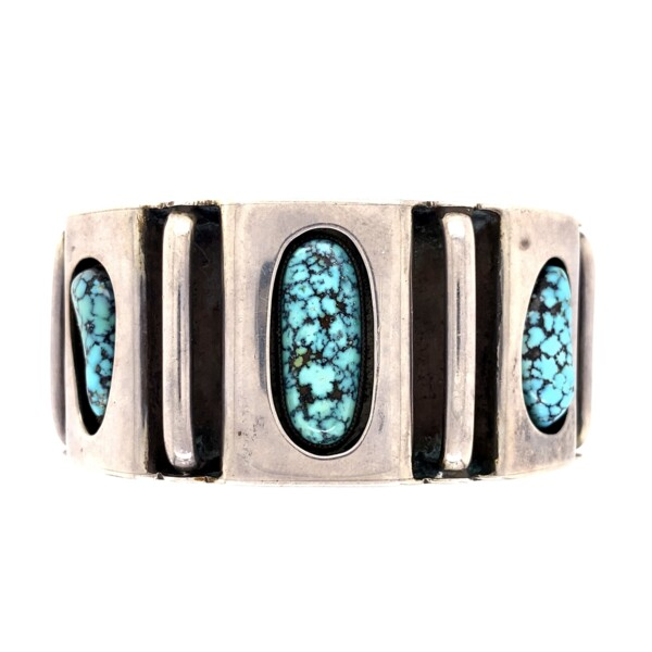 Closeup photo of 925 Turquoise Spiderweb Turquoise 3 Stone Cuff 108.7g