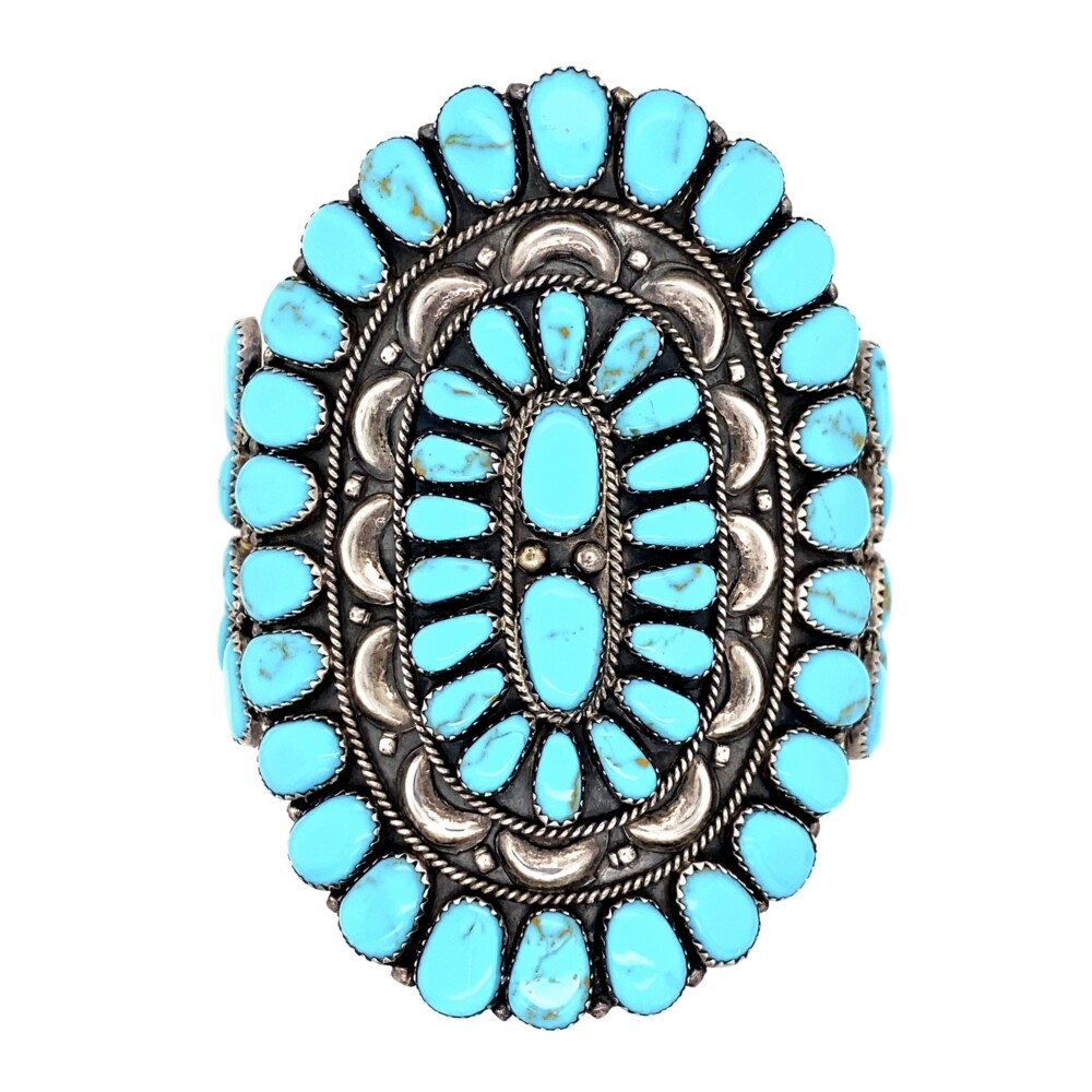 """925 Sterling Exquisite Zuni Turquoise Inlay Cuff 52.3g, 3.5"""" Long"""