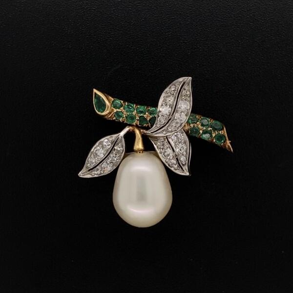 Closeup photo of Platinum & 18K Diamond, Emerald & Pearl Brooch 4.6g