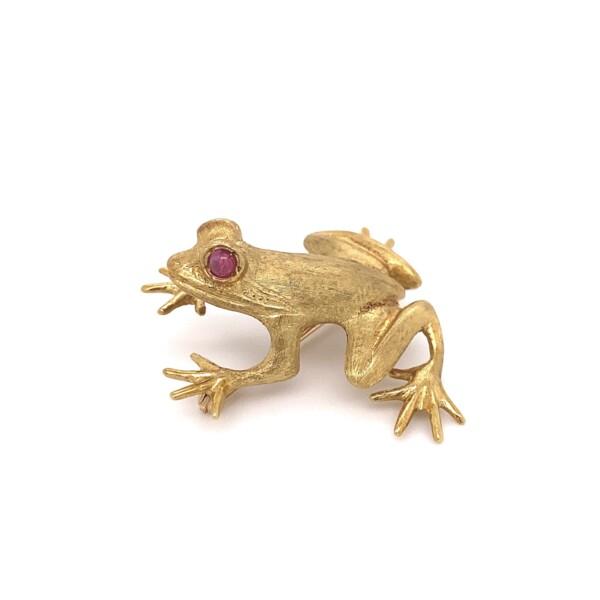 "Closeup photo of 18K YG J Cooper Frog Brooch Ruby Eyes 11.9g, 1.25"""