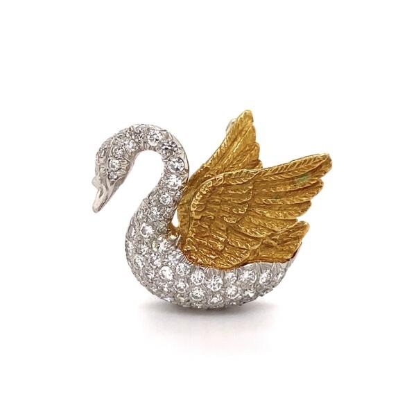 Closeup photo of Platinum & 18K 1.05tcw Diamond Swan Brooch 9.1g