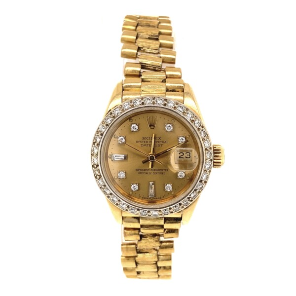 Closeup photo of Rolex Ladies 69278 26mm Diamond Bezel & Dial Bark Bracelet 69.1g