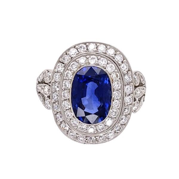 Closeup photo of Platinum Art Deco Double Halo 2.64ct Sapphire & 1tcw Diamond Ring 6.1g, s6.5