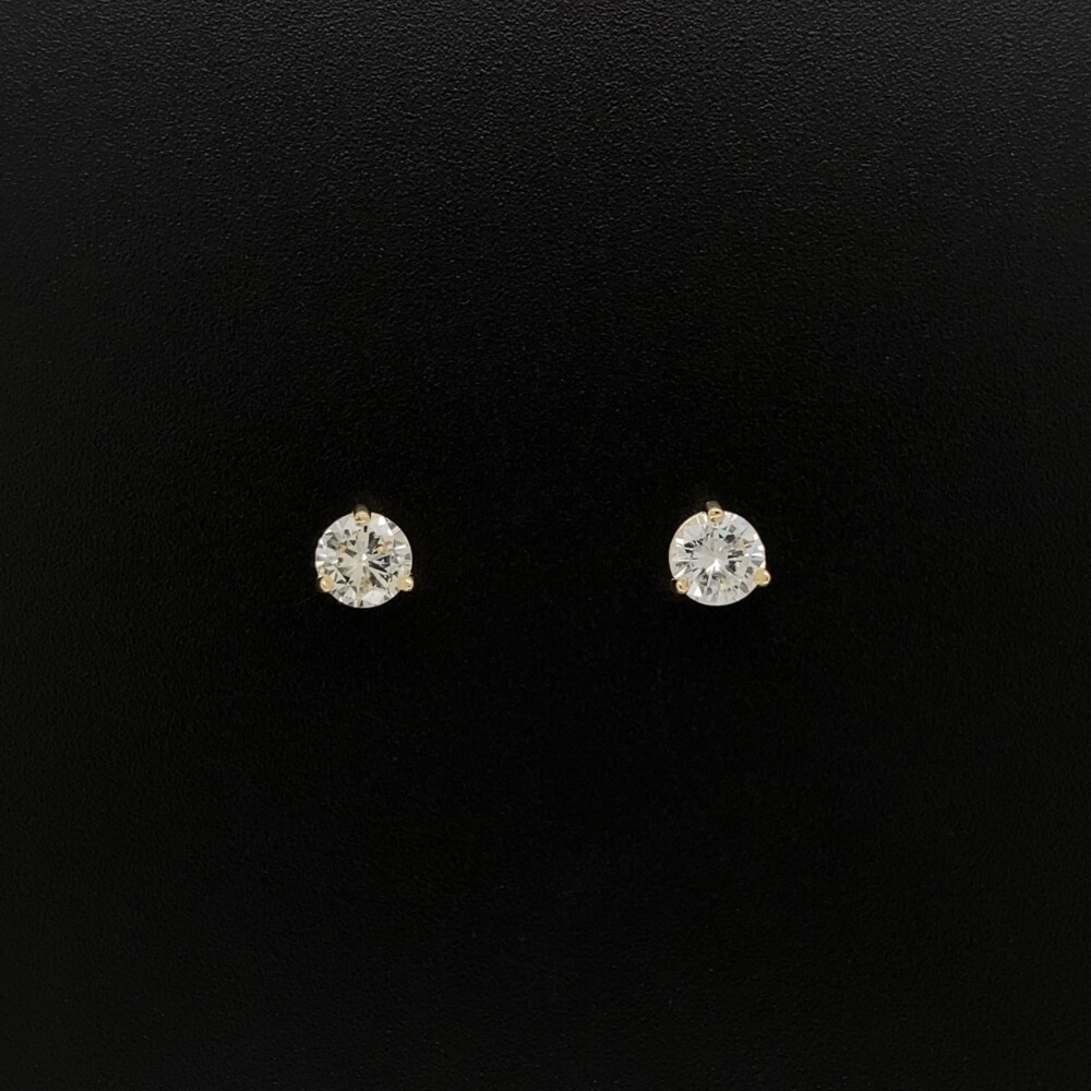14K YG .60tcw Round Brilliant Diamond Stud Earrings