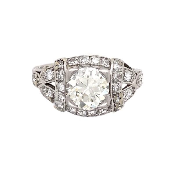 Closeup photo of Platinum Art Deco 1.50 Old European Cut Diamond Ring