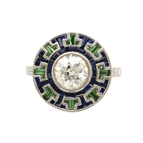 Closeup photo of 18K WG 1.24ct Diamond in Art Deco Revival Sapphire & Tsavorite Ring 6.6g, s6.5