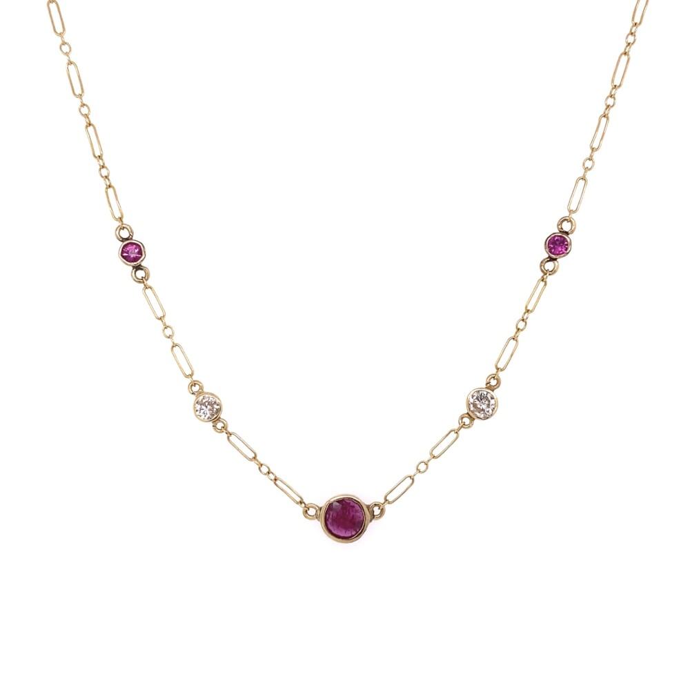 """14K YG .28tcw Diamond & 1.00tcw Ruby Chain Necklace 2.4g, 15.5"""""""