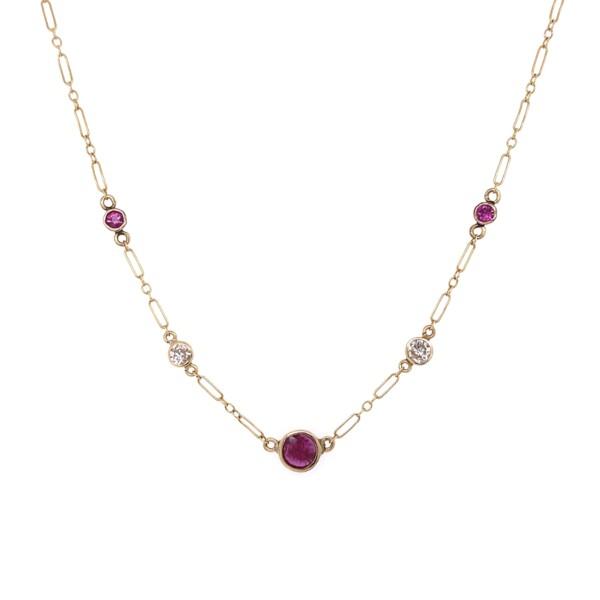 """Closeup photo of 14K YG .28tcw Diamond & 1.00tcw Ruby Chain Necklace 2.4g, 15.5"""""""