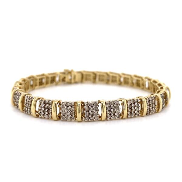 "Closeup photo of 14K YG Pave Diamond Bracelet 2.34tcw 14.8g, 7"""