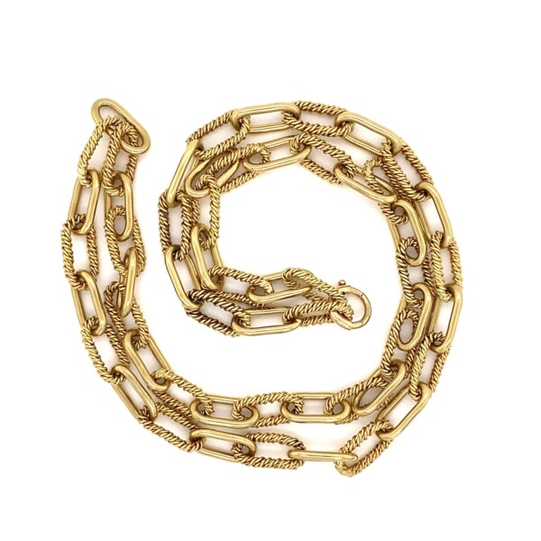 """Closeup photo of 18K YG Rope & Polished Link Chain Necklace 61.2g, 24"""""""