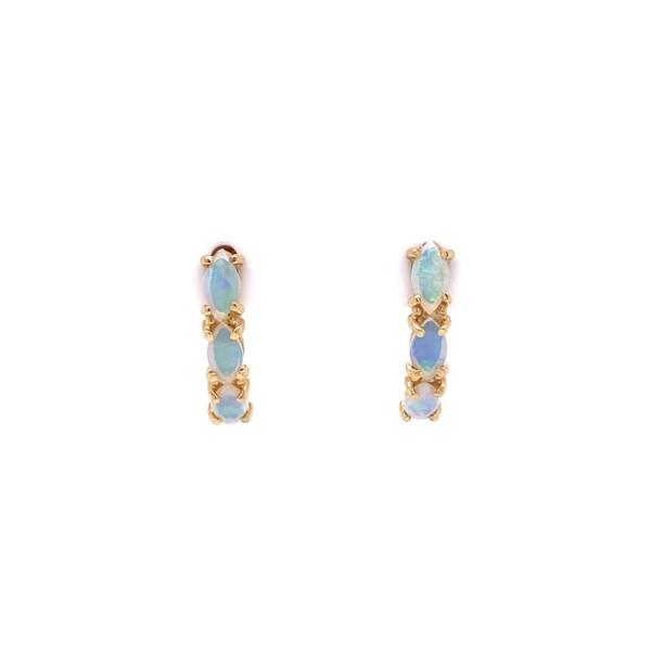 "Closeup photo of 14K YG 6 Marquis Opal Stud Earrings 1.5g, .67"""