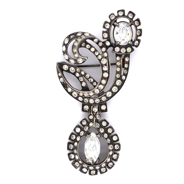 """Closeup photo of 925 Sterling Paste Brooch 30.1g, 3"""""""