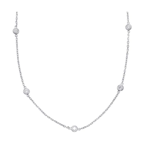 "Closeup photo of 14K WG 10 Round Brilliant Diamonds by the Yard Necklace .52tcw, 18"""