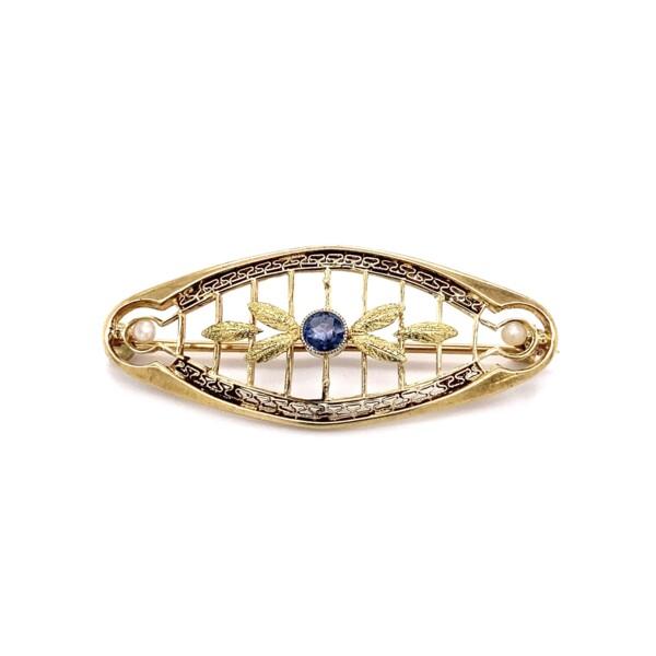 "Closeup photo of 14K YG Victorian Blue Stone & Seed Pearl Brooch 3.0g, 1.5"""