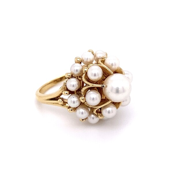 Closeup photo of 14K YG MIKIMOTO Cluster Pearl Ring 7-3.4mm 10.8g, s5
