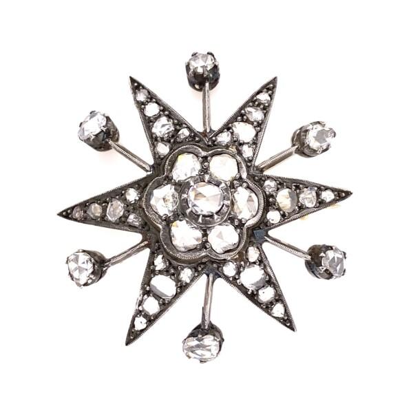 "Closeup photo of Sterling on Gold 4.50tcw Diamond Star Pendant 12.2g, 1.8"""