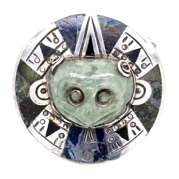 Closeup photo of 925 Sterling Alien Nephite Jade Inlay Cuff 147.3g