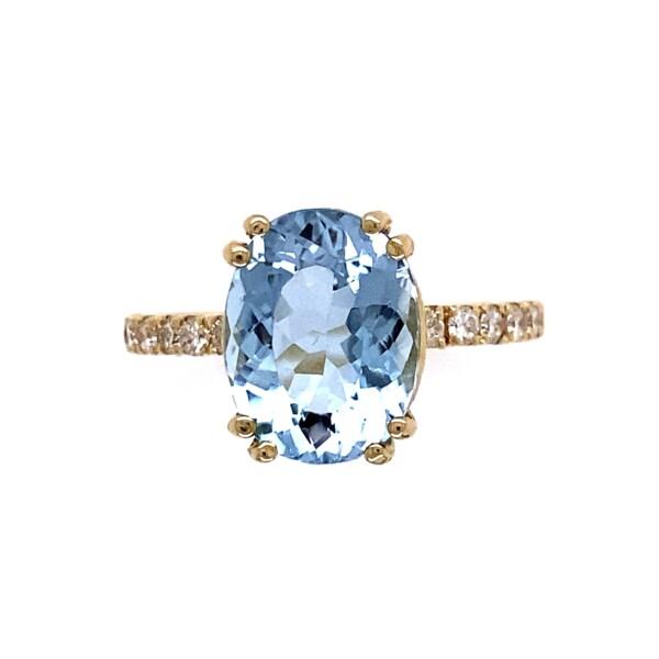 Closeup photo of 14K YG 3.04ct Oval Aquamarine & .27tcw Diamond Ring 3.0g, s6.25