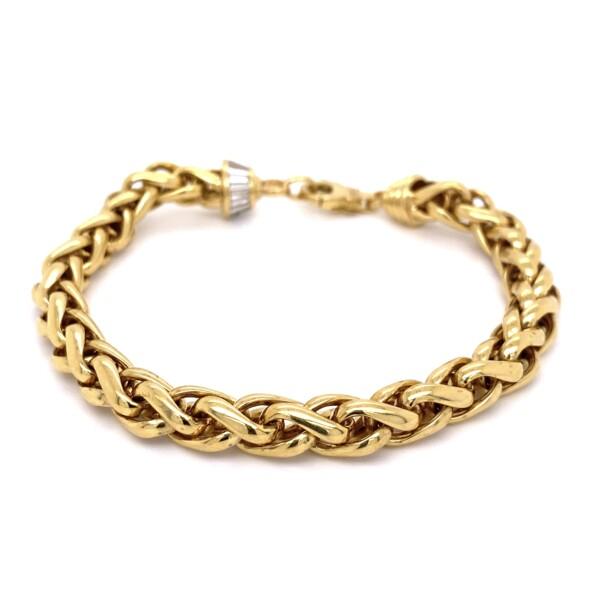 "Closeup photo of 18K YG Snake 7.5mm Link Bracelet 1.20tcw Baguette Diamonds 29.3g, 8.75"""