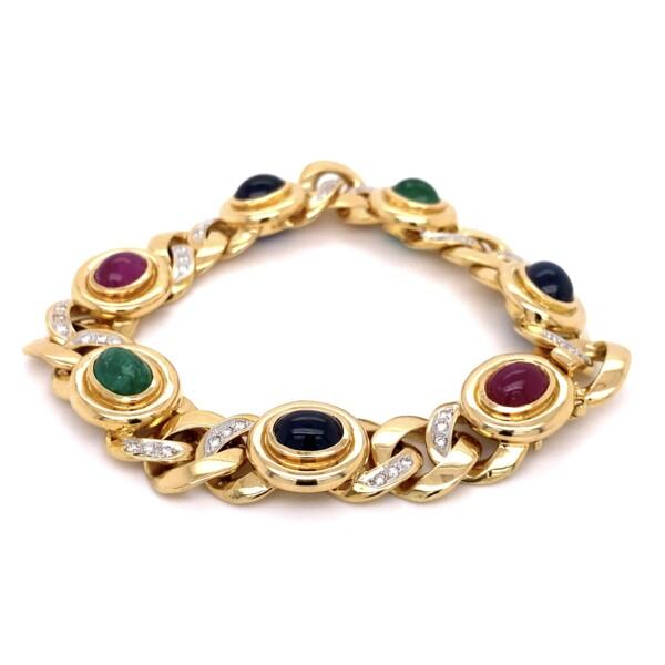 "Closeup photo of 18K YG Tutti Fruiti .75tcw Diamond, Emerald, Ruby, Sapphire Bracelet 81.4g, 8"""