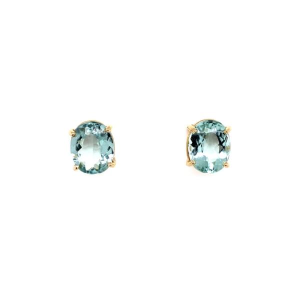 Closeup photo of 4.50tcw Oval Sea Blue Tourmaline Stud Earrings w/ Friction Backs