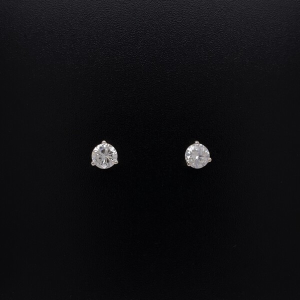 Closeup photo of .68tcw Round Brilliant Diamond Stud Earrings G-SI1 4.50mm in 14K WG
