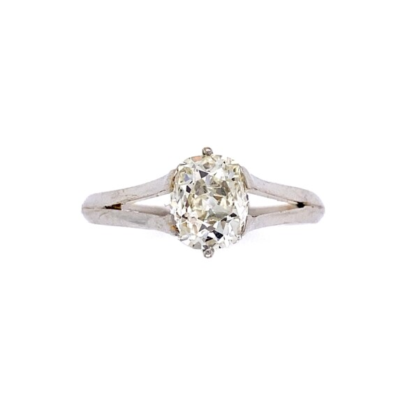 Closeup photo of 18K WG 1.34ct Old Mine Cushion Diamond Solitaire Ring 2.6g, s8.25