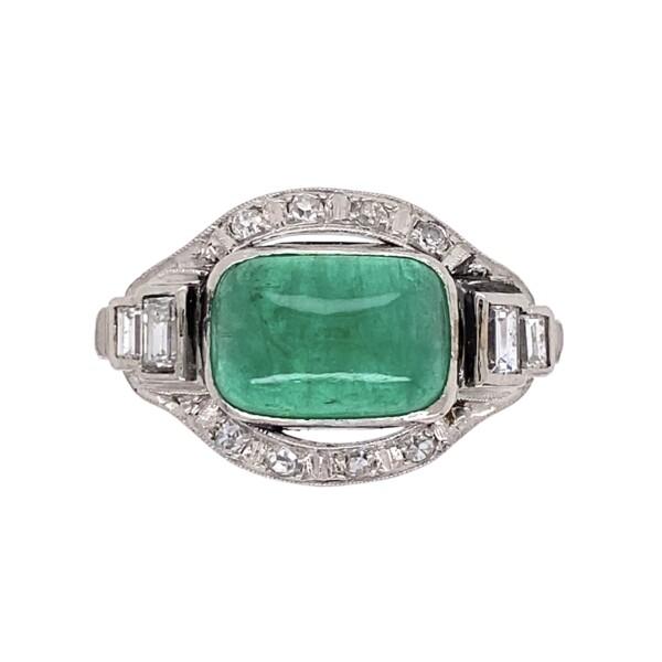 Closeup photo of Platinum Art Deco Sugarloaf 3ct Emerald & .28tcw Diamond Ring 5.1g, s6