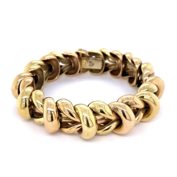 "Closeup photo of 18K Green & Rose Gold Italian Link Bracelet 80.8g, 8"""