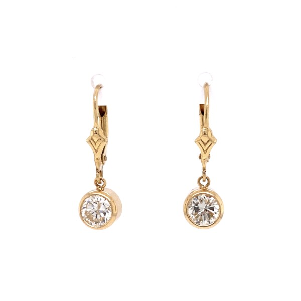 Closeup photo of 14K YG 1.40tcw Round Brilliant Diamond Stud Drop Earrings 2.2g