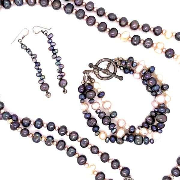 Closeup photo of 925 Sterling Gray & White Pearl Bracelet, Necklace, Earring Set